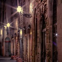 Walking at night in Florence, Italy